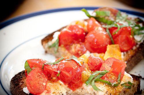 Lightly Cooked Cherry Tomato Bruschetta